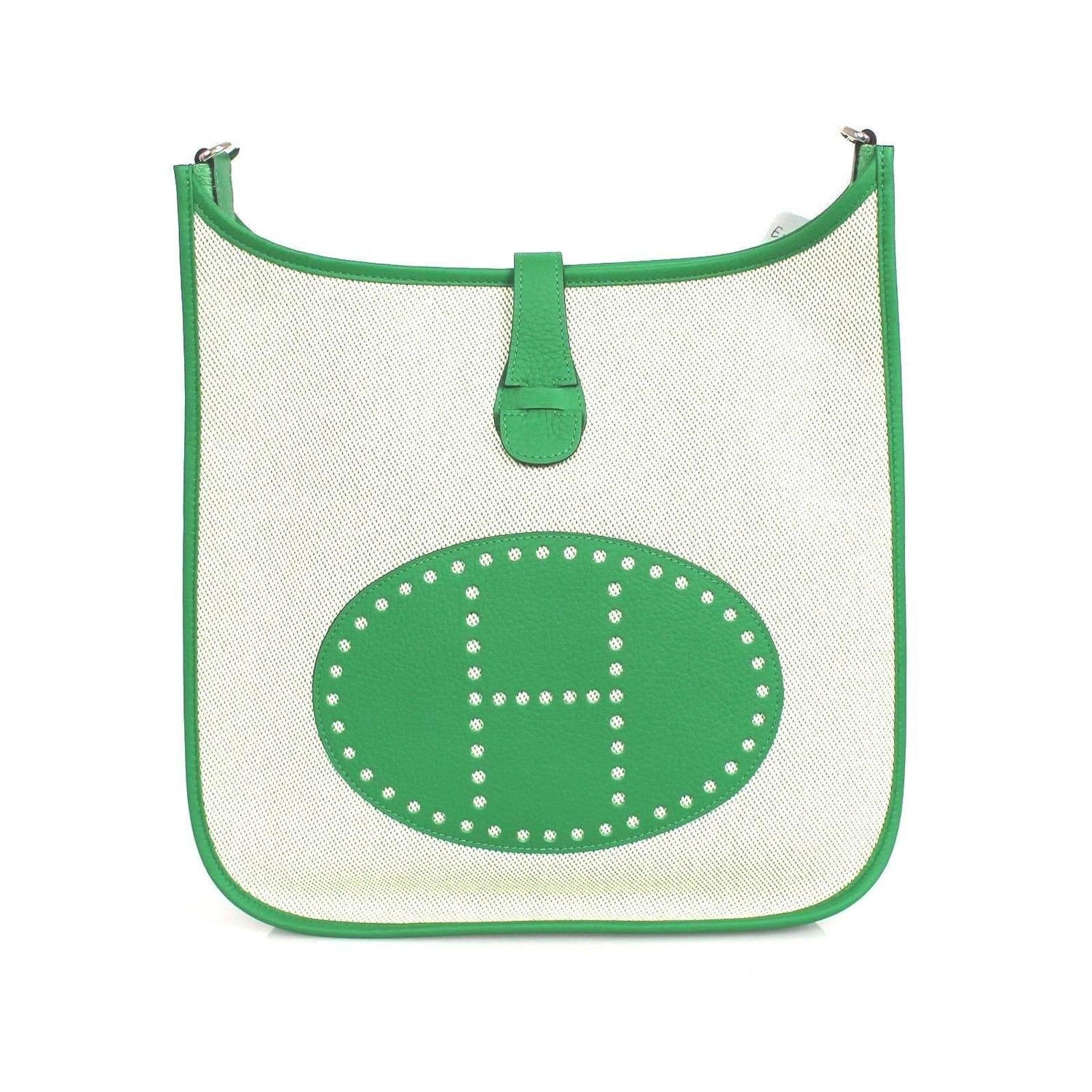 Hermes Ecru Twill H Canvas green Clemence Evelyne Iii Multicolor ...