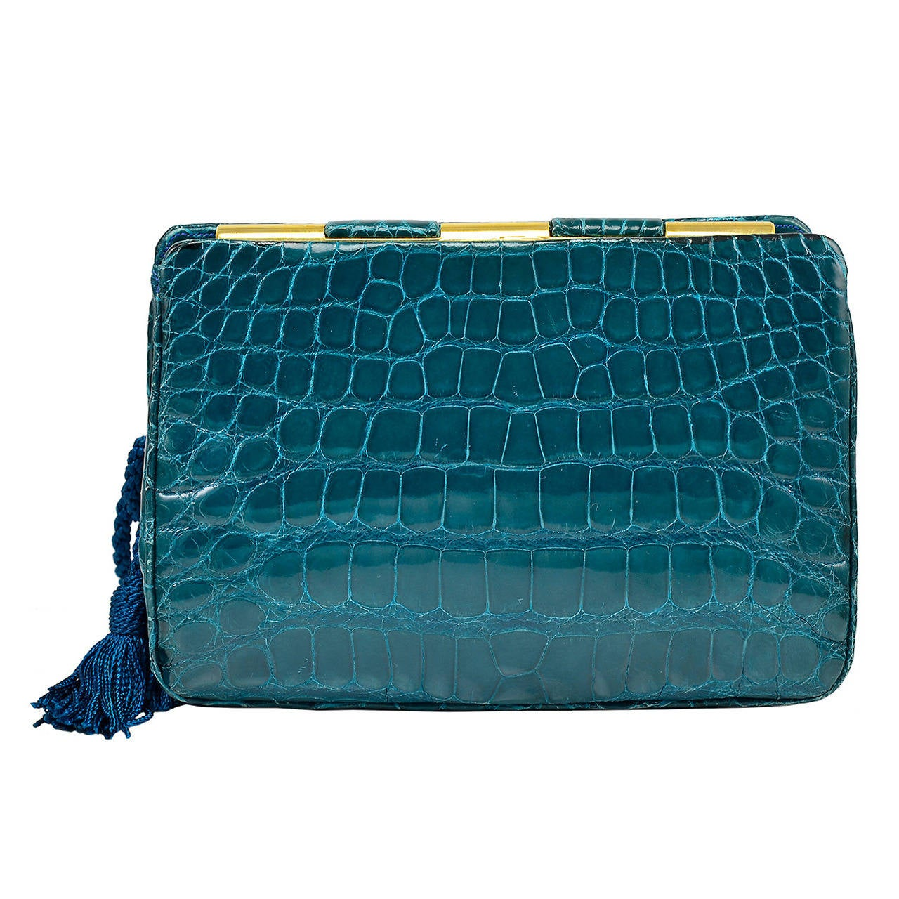 Gorgeous Judith Leiber Green Alligator Clutch Bag For Sale