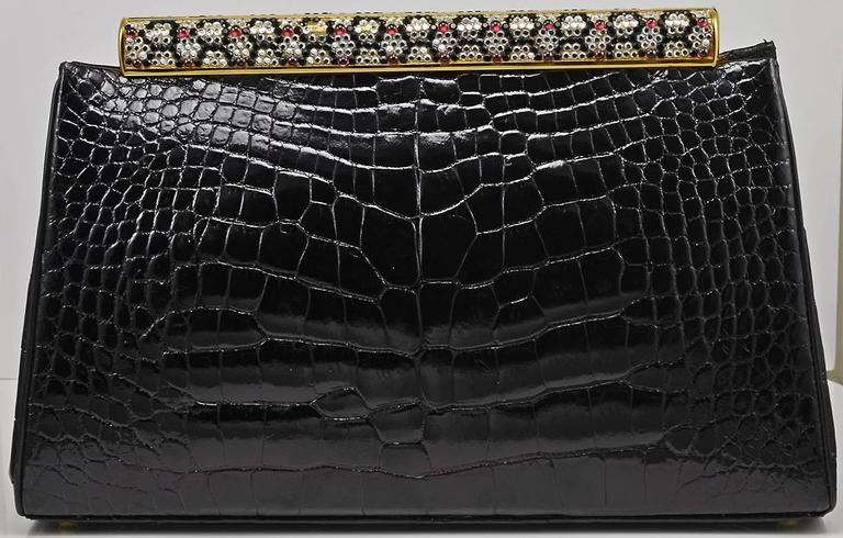 Iconic Judith Leiber Alligator Bag with Jewel Encrusted Frame For Sale 2