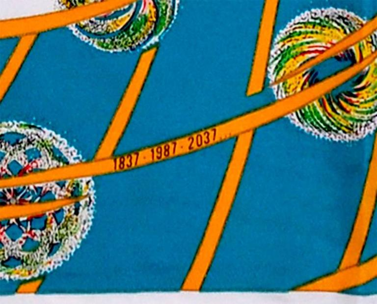 "Gorgeous Hermes 35"" ""Les Feux de E'Space"" silk scarf in pristine, like new condition."