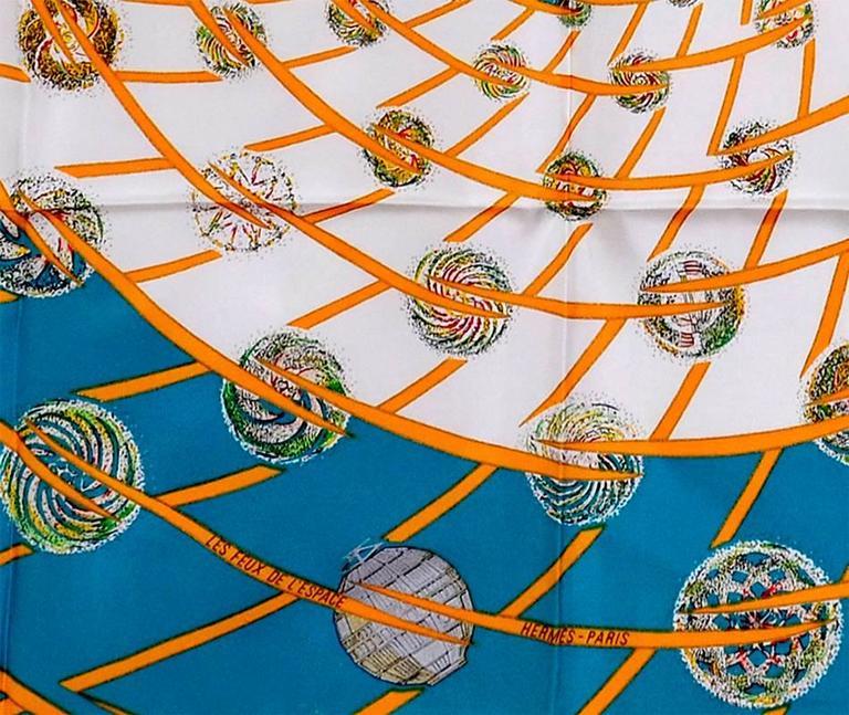 Beige Gorgeous Hermes Les Feux De L'Espace Silk Scarf For Sale
