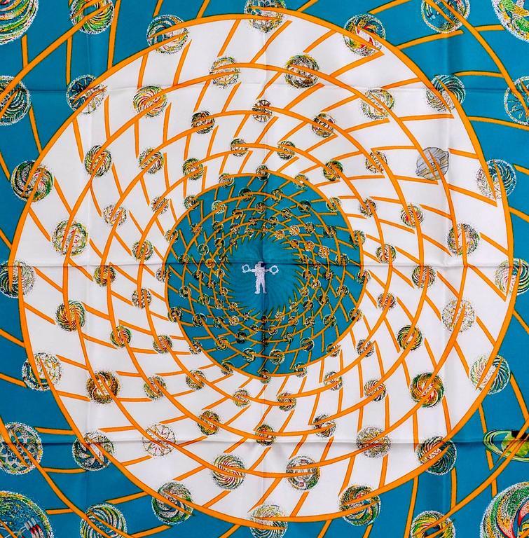 Gorgeous Hermes Les Feux De L'Espace Silk Scarf In Excellent Condition For Sale In Teaneck, NJ