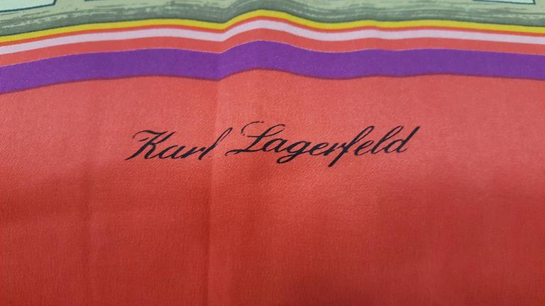 Bright and Beautiful Karl Lagerfeld Silk Shawl For Sale 1