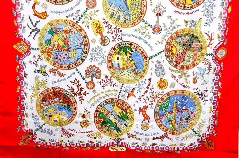 Beige Gorgeous Hermes Exales Mediterannees Silk Scarf For Sale