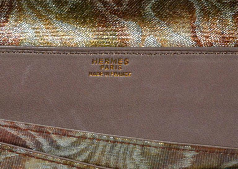 Brown Hermes Moire Clutch For Sale