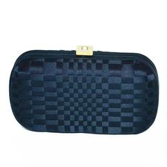 Bottega Veneta Black Silk Woven Knot Clutch