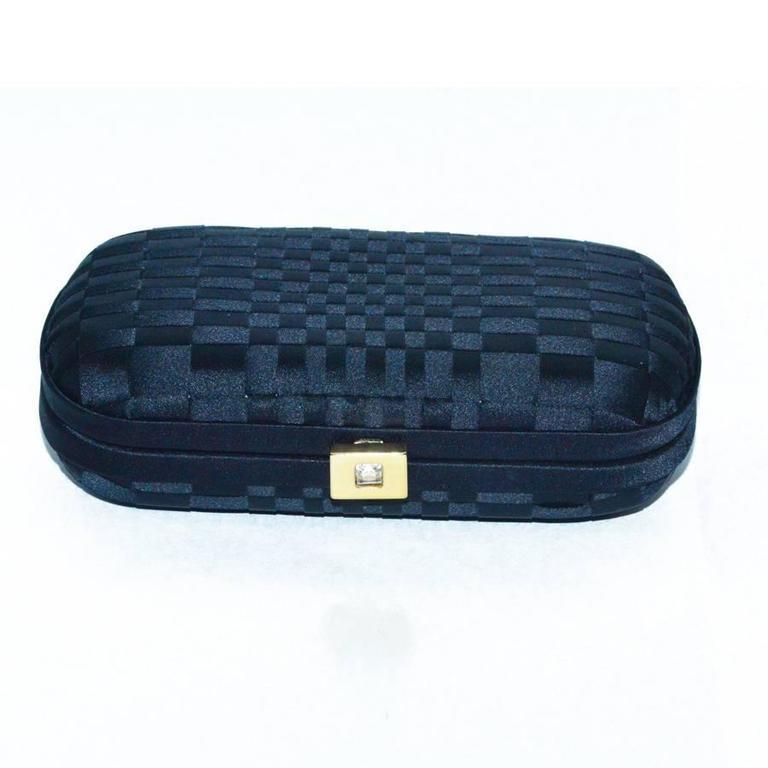 Bottega all black woven silk clutch bag in pristine condition.