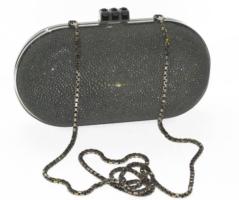 Chic black shagreen Judith Leiber clutch bag with shoulder chain.  Perfect for day or evening, in pristine condition.