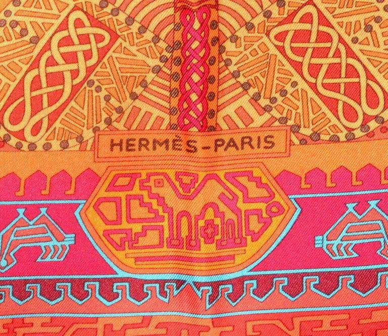 Fabulous classic Hermes orange silk 35