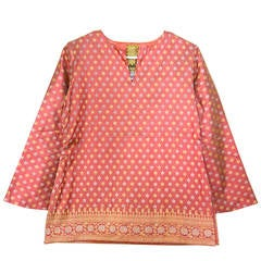 Gorgeous Virginia Witbeck 1990s Pink/ Coral Kurti Silk Blouse