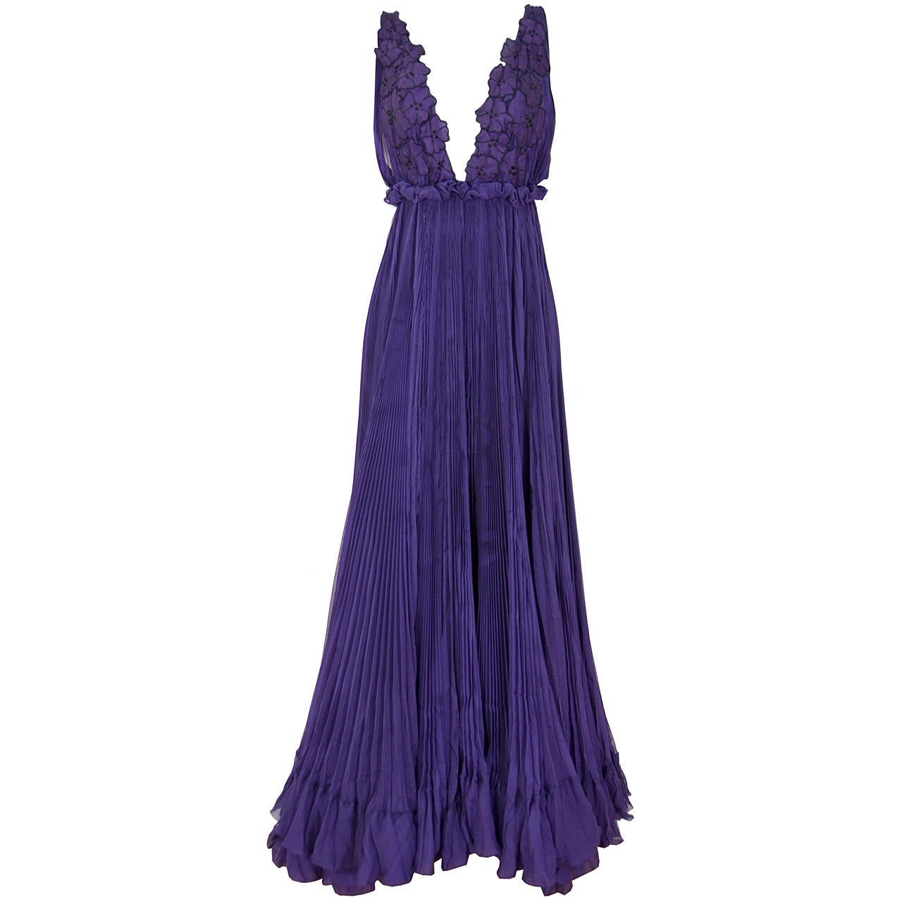 Sexy Yves Saint Laurent Purple Iris Silk Gown 1