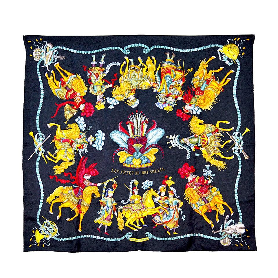 Gorgeous Hermes Les Fetes Du Roi Soleil Silk Scarf For Sale