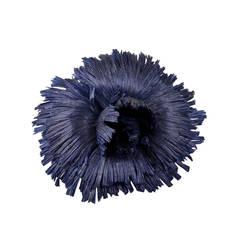 Chanel Blue Staw Flower Brooch