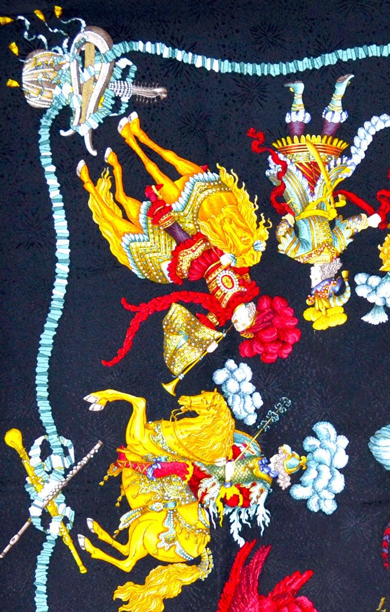 Gorgeous Hermes Les Fetes Du Roi Soleil Silk Scarf In Excellent Condition For Sale In Teaneck, NJ