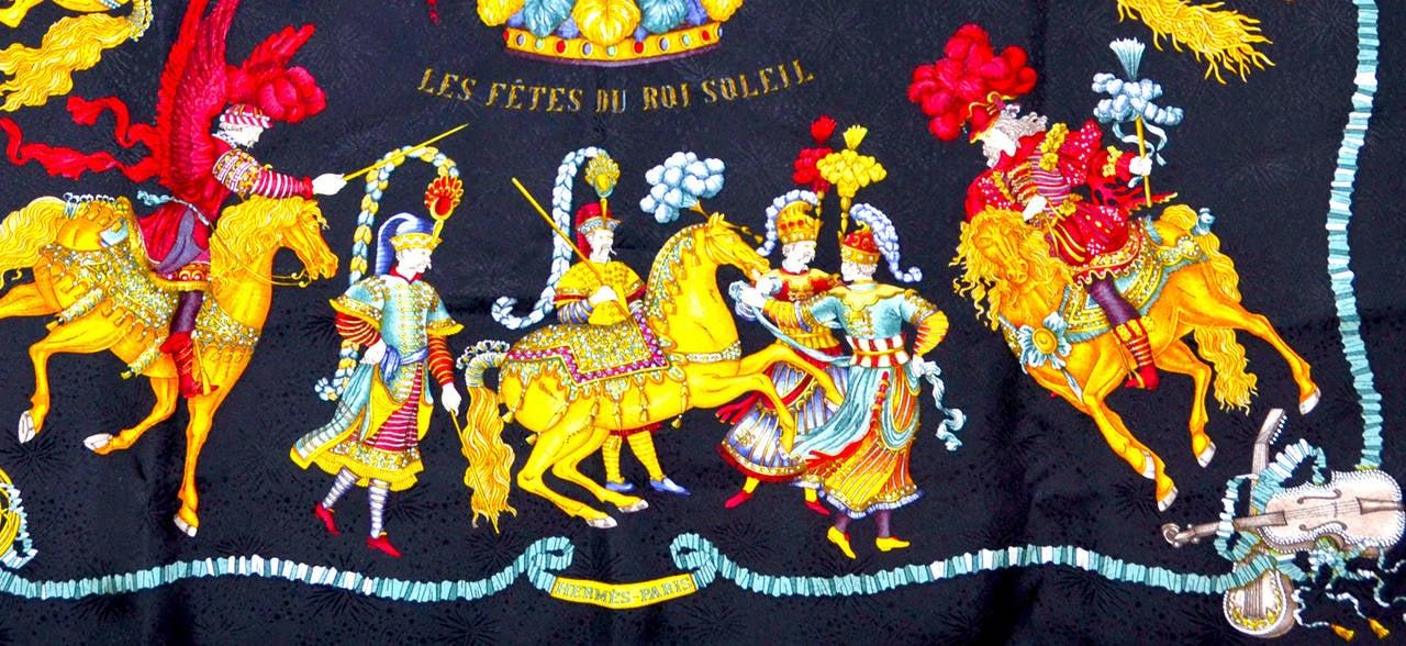 Gorgeous Hermes Les Fetes Du Roi Soleil Silk Scarf In pristine condition.
