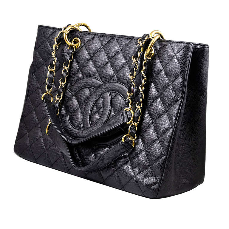 chanel black caviar gst grand shopping tote handbag at 1stdibs. Black Bedroom Furniture Sets. Home Design Ideas