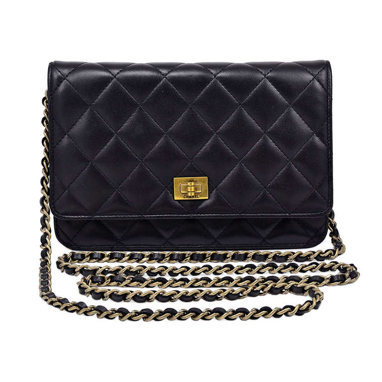 Chanel Quilted Black Wallet on Chain Bag 1