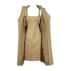 Gorgeous Gold Michael Kors Sleeveless Dress and Matching Coat Ensemble