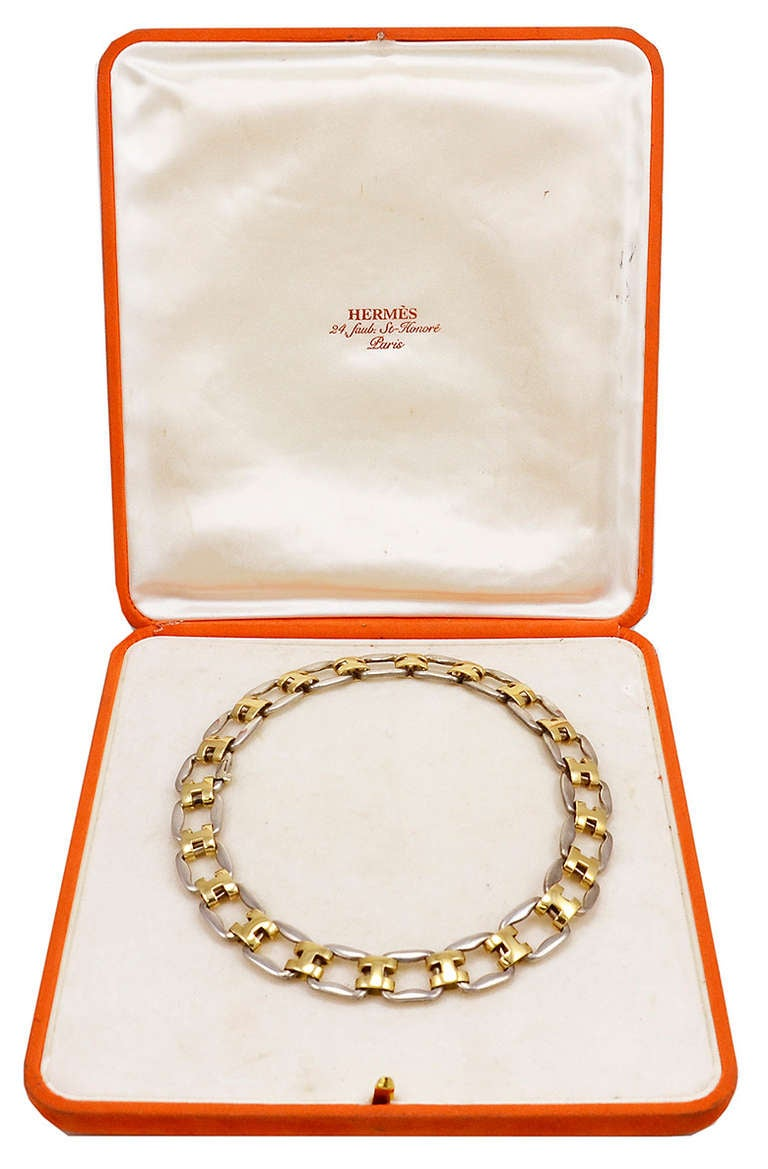 Hermes Very Rare Magnificent Sterling Gold Necklace In Excellent Condition In Teaneck, NJ