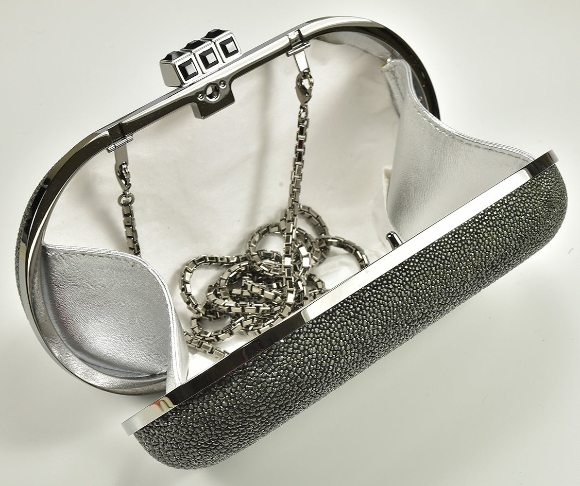 Gray The Perfect Judith Leiber Black Stingray Clutch For Sale