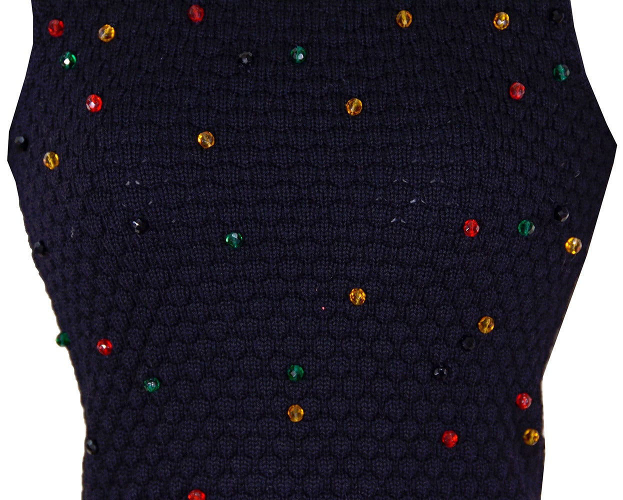 8c08ea5a2c1d35 Stunning YSL, Yves Saint Laurent fine Merino wool, beaded sweater set. Black  background
