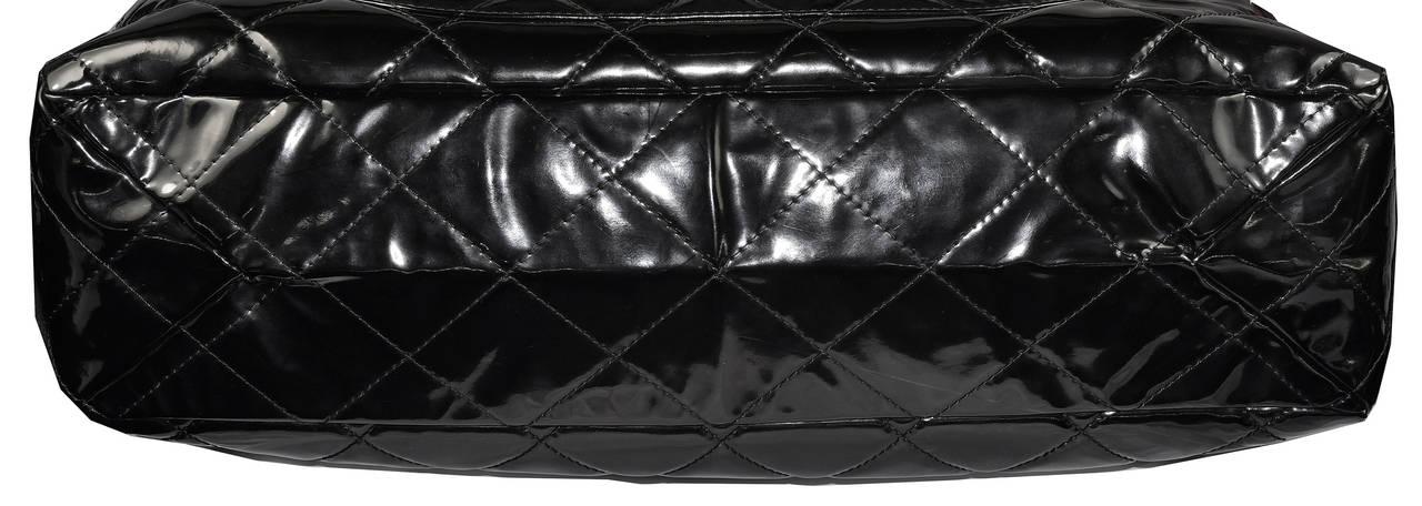 Black Oversized Chanel Patent Bag For Sale