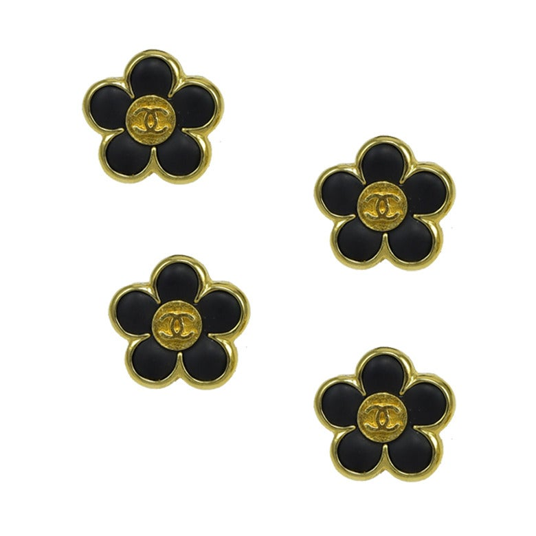 Rare Set of Four Small Chanel Enamel Floral Buttons 1