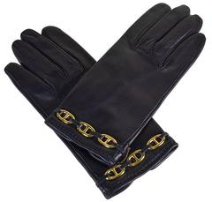 Classic Hermes Leather Gloves with Gold Chaine D'Anchre Accents