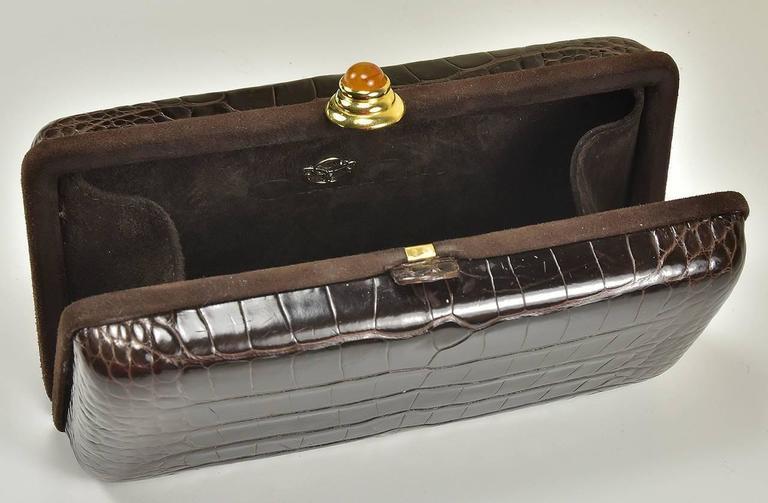 Black Iconic Oscar de la Renta Alligator clutch For Sale
