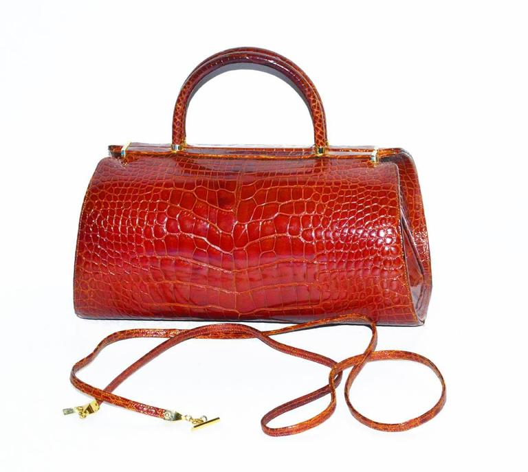 Brown Classic Genuine Alligator Judith Leiber Bag For Sale
