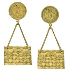 Iconic Chanel Quilted Purse Earrings