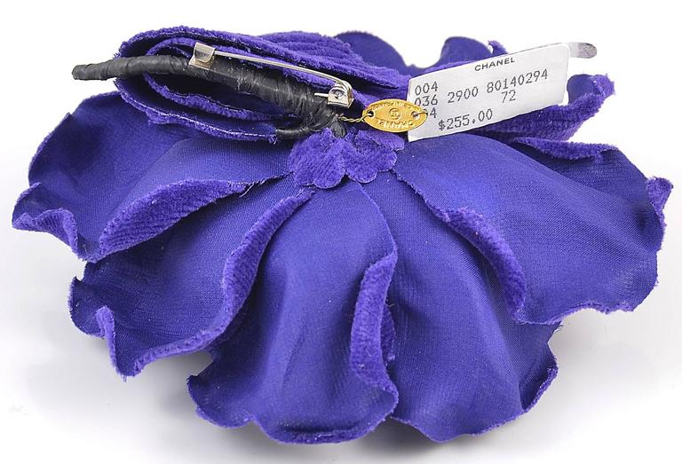 Gorgeous large blue velvet Chanel flower brooch/pin. Pristine condition.