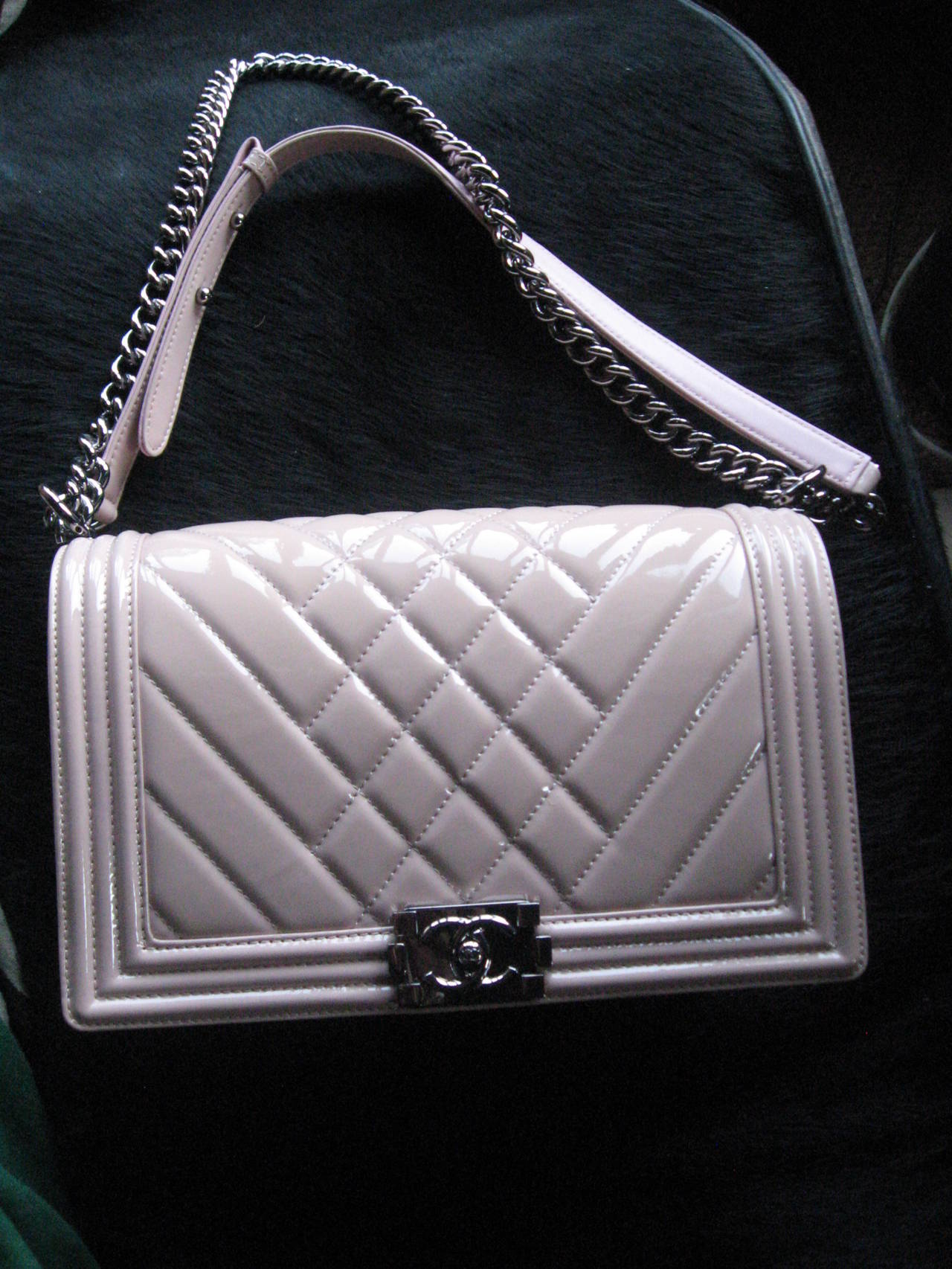 Chanel Light Pink Patent Leather Medium Chevron Quilted Boy Bag ...CC Push Lock Closure  Ruthenium Chain and Lock Hardware in New Condition ..... with Dust Bag, Care Book,Card Id..