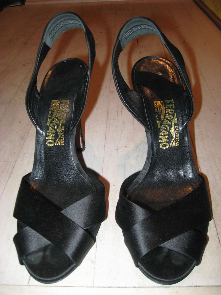 Salvatore Ferragamo Vintage Black Silk Evening Sandals  size 9.5 R 4.5' heal