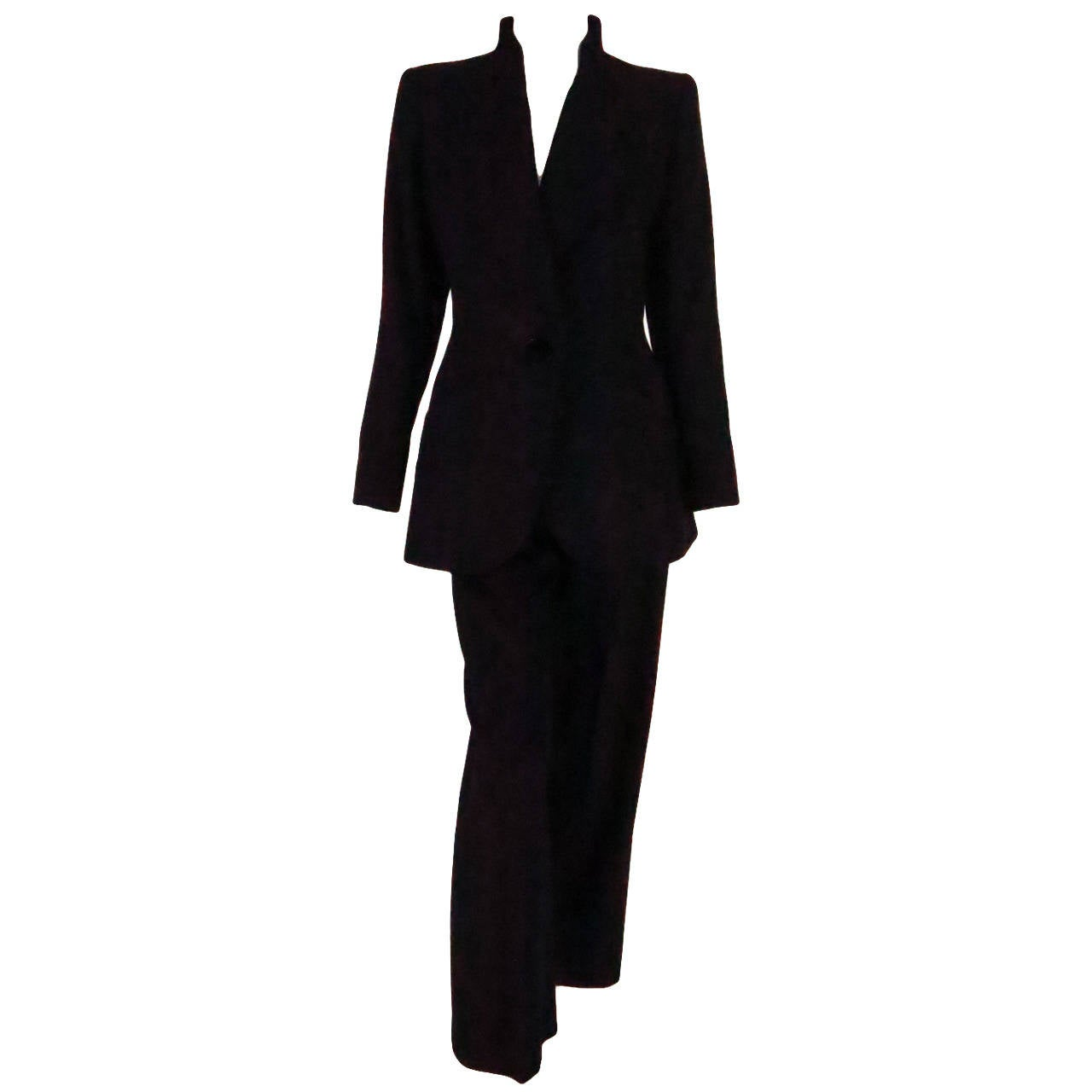 1990s Yves St Laurent black wool twill nipped waist trouser suit