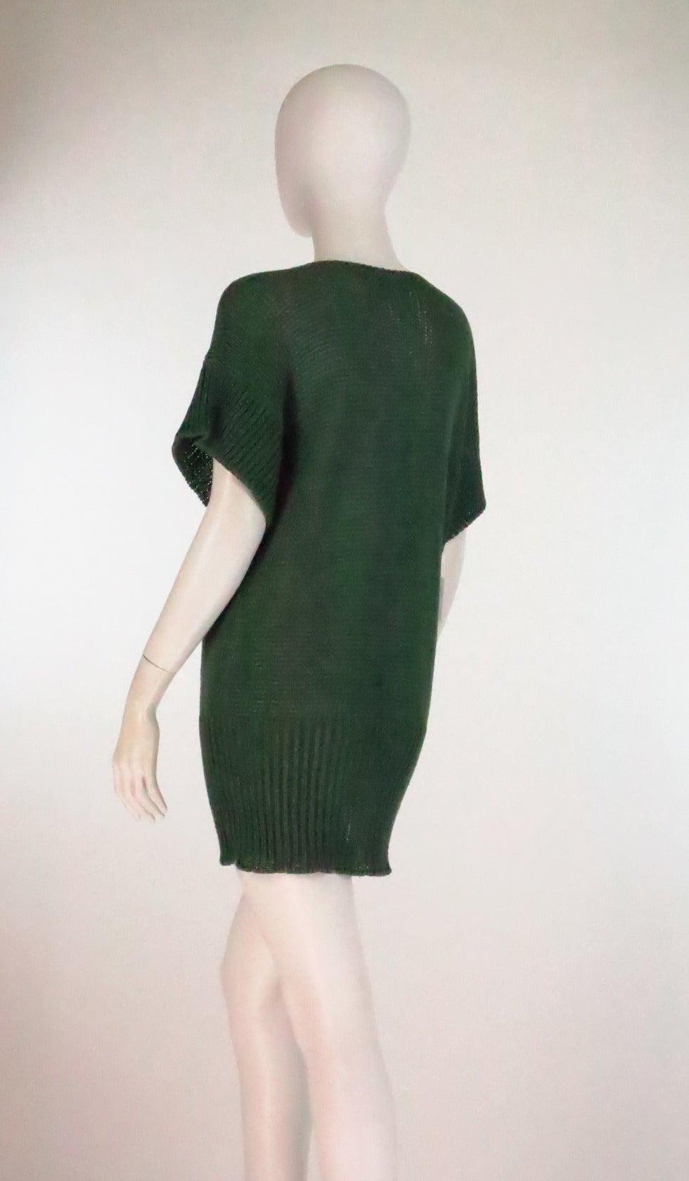 Black 1980s Jil Sander pine green sweater knit tunic For Sale