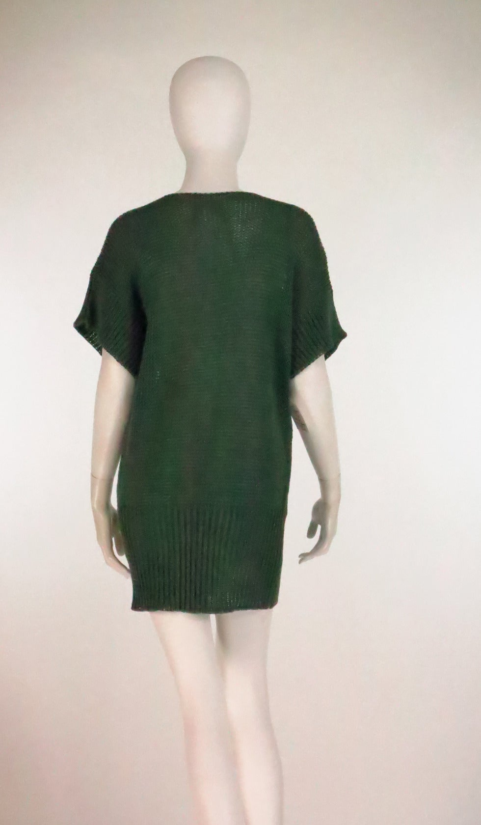 1980s Jil Sander pine green sweater knit tunic In Excellent Condition For Sale In West Palm Beach, FL