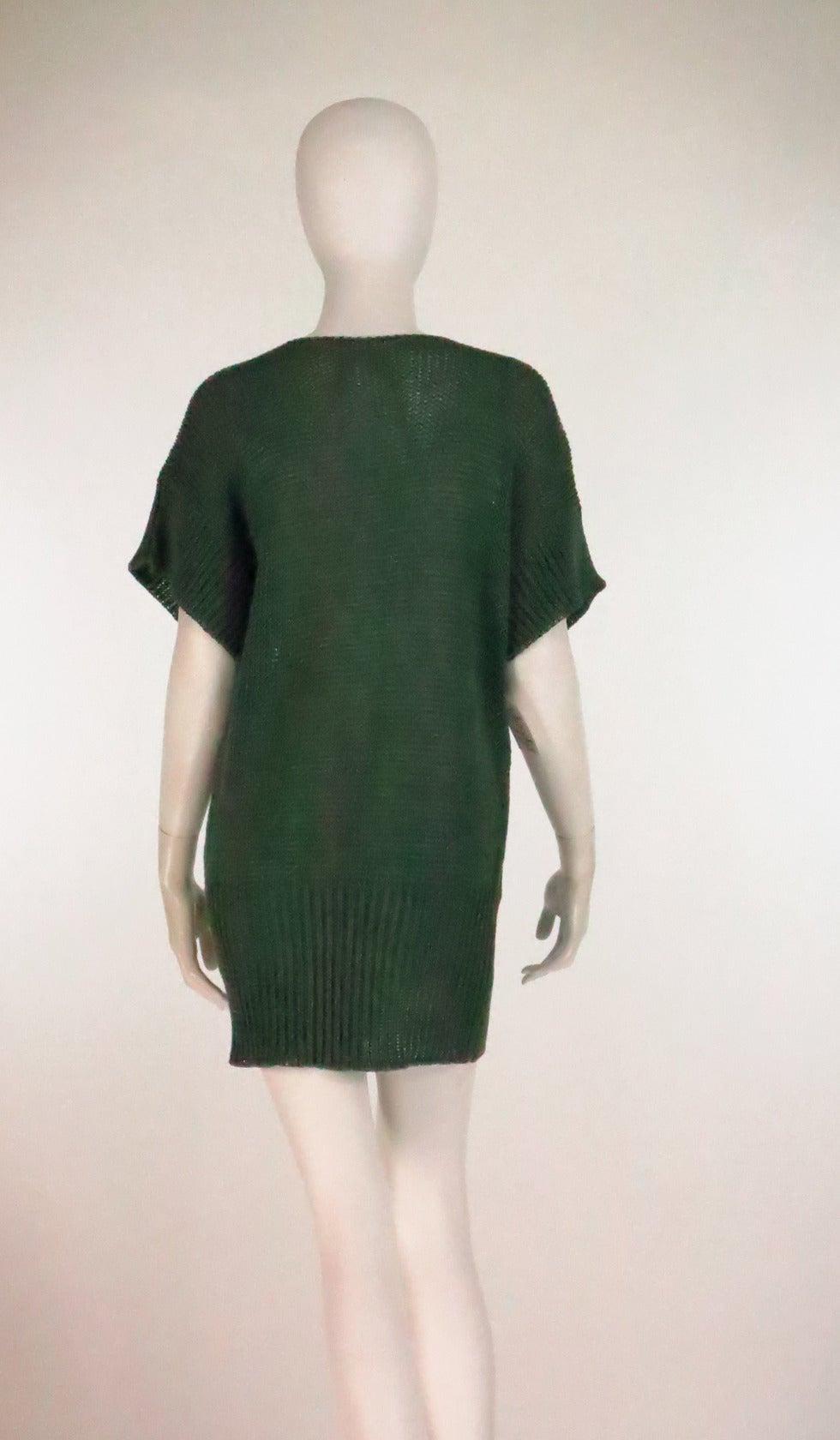 1980s Jil Sander pine green sweater knit tunic 4