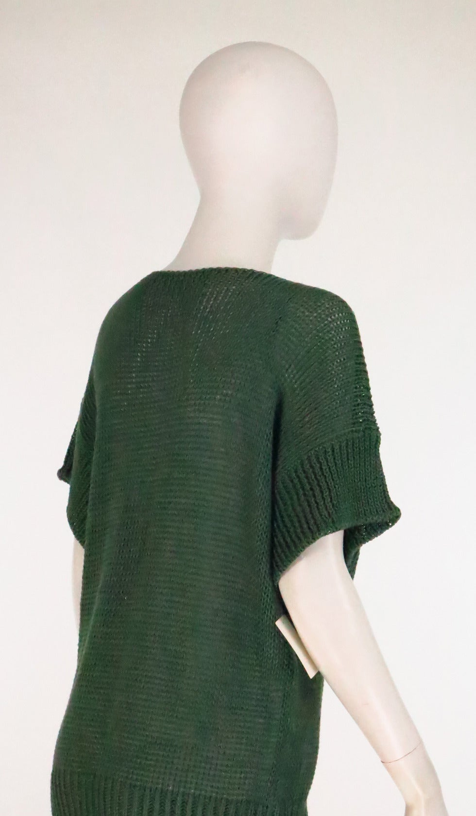 Women's 1980s Jil Sander pine green sweater knit tunic For Sale