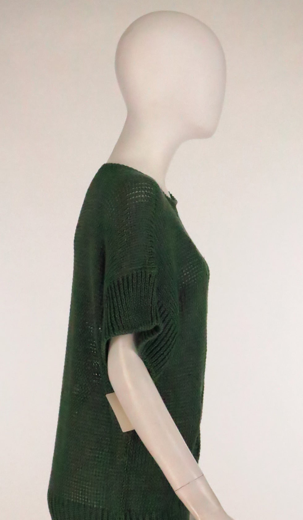 1980s Jil Sander pine green sweater knit tunic For Sale 1