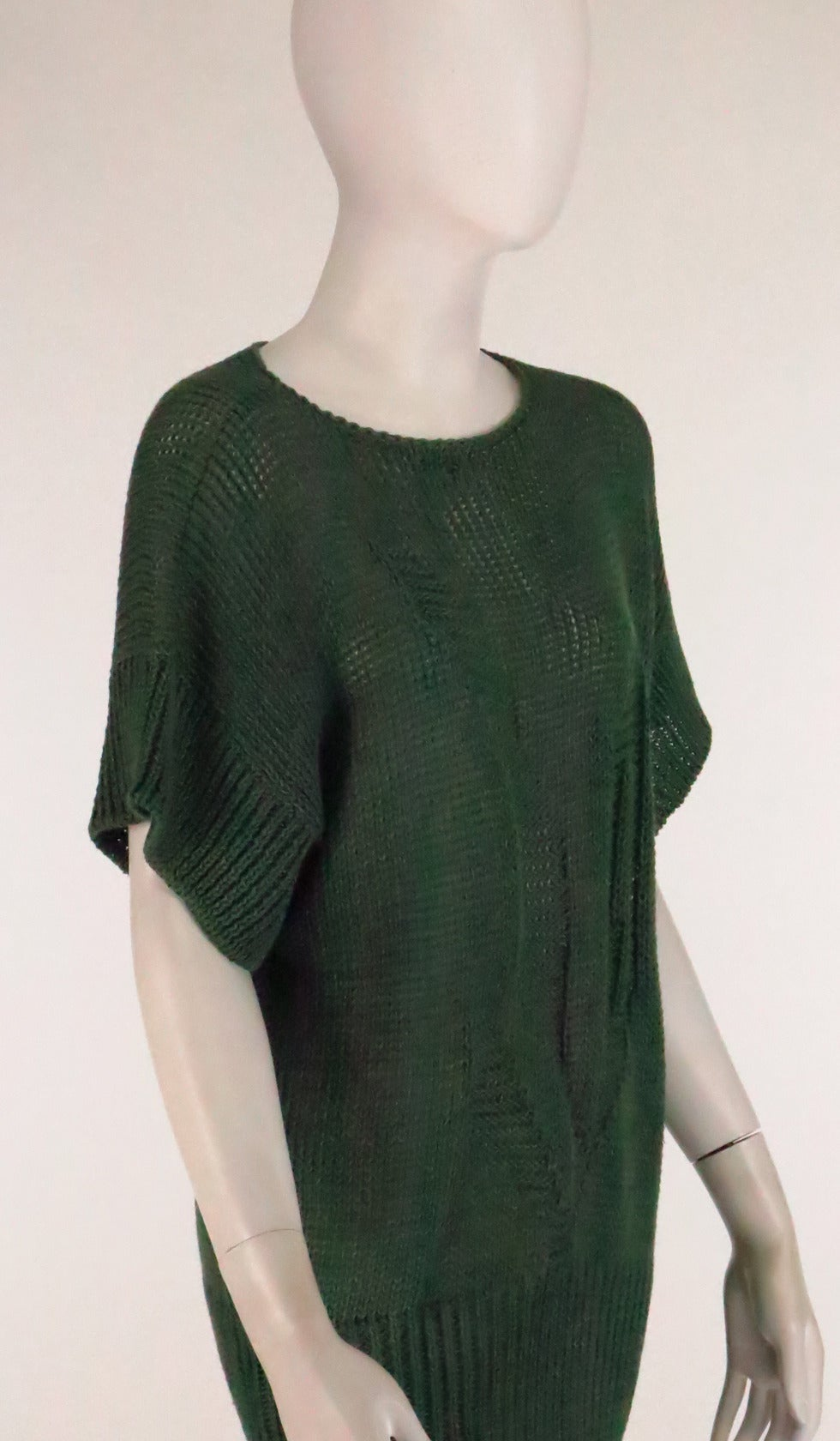 1980s Jil Sander pine green sweater knit tunic For Sale 2