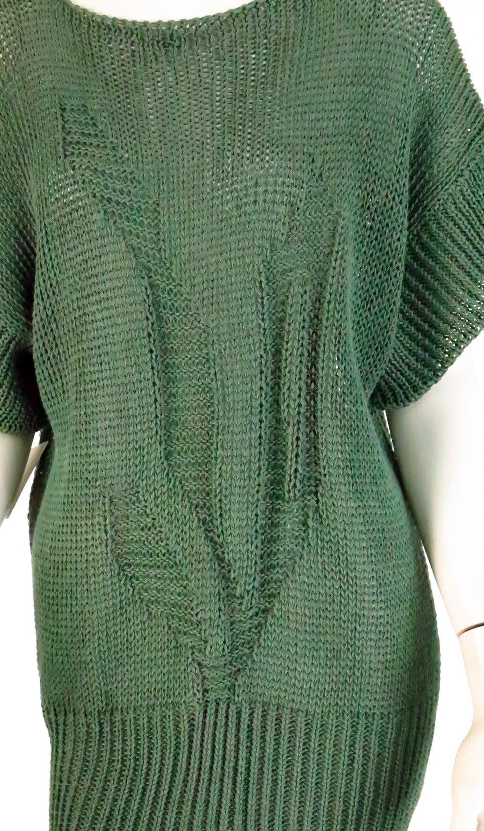 1980s Jil Sander pine green sweater knit tunic For Sale 3