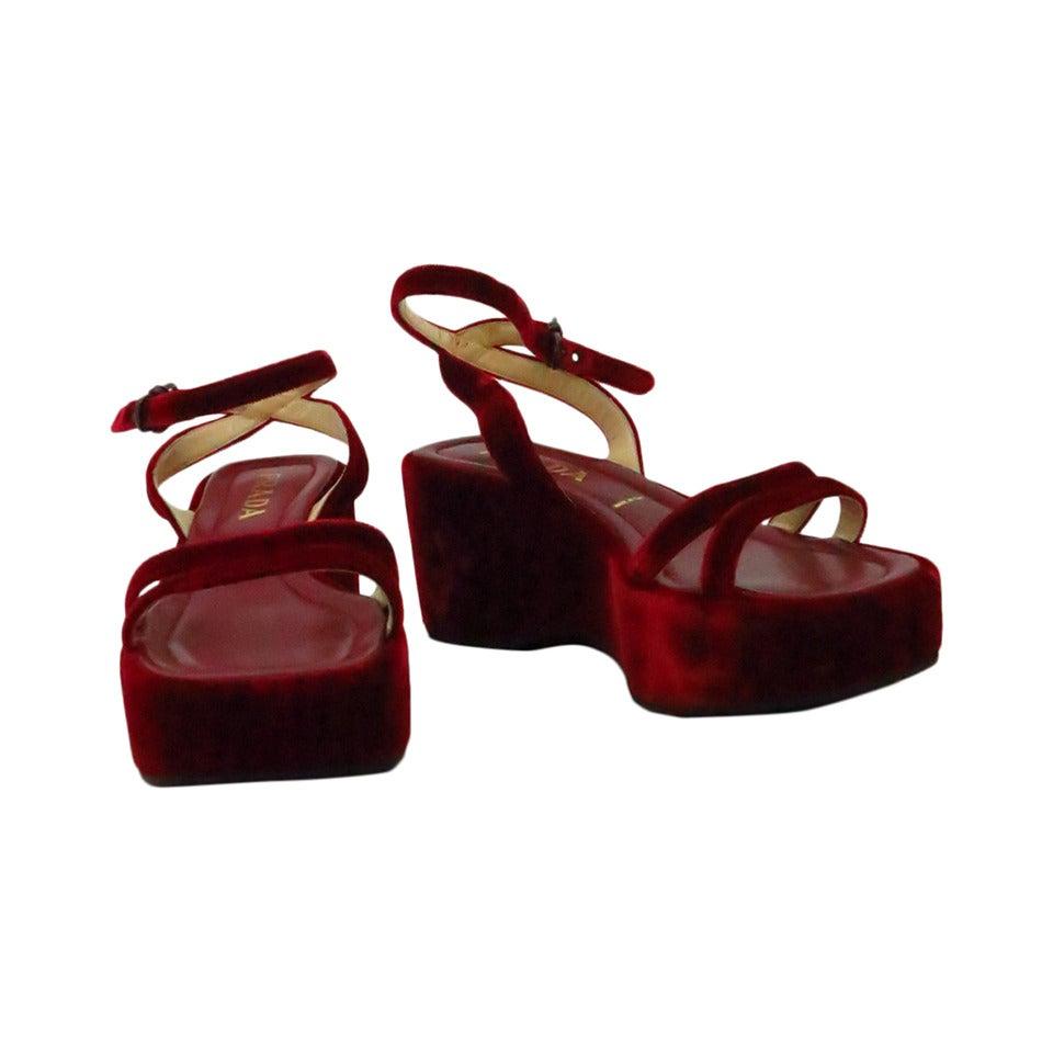 Prada red velvet platfrom sandals 39 1