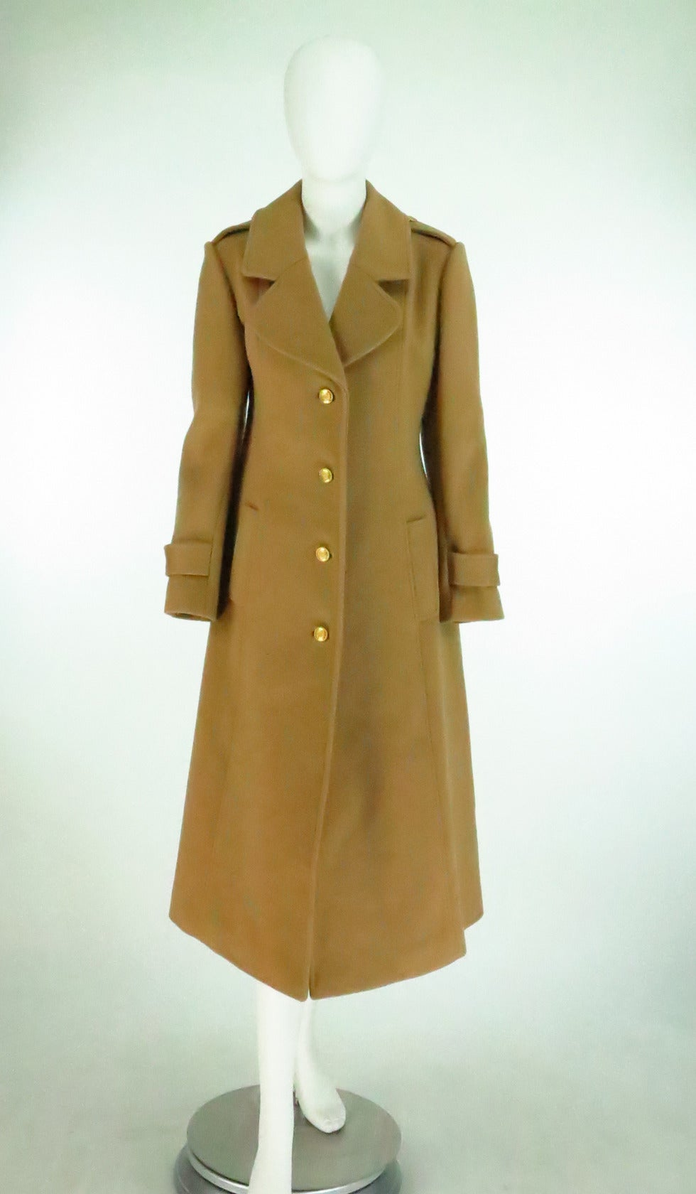 1960s Adolfo camel tan double face wool military style coat 2