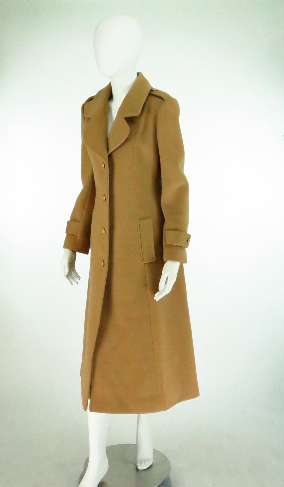 1960s Adolfo camel tan double face wool military style coat 3