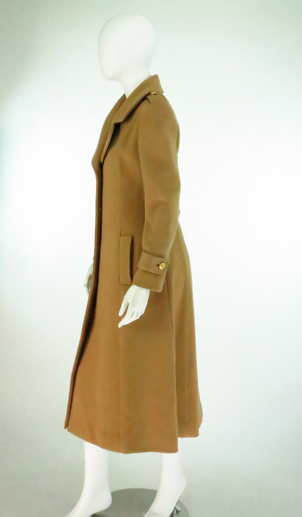 1960s Adolfo camel tan double face wool military style coat 4