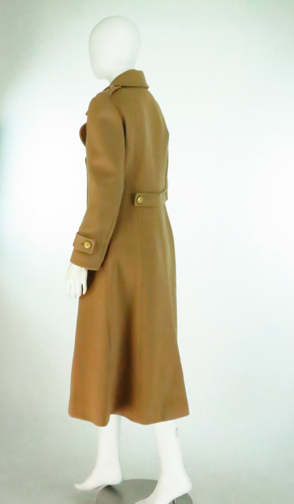 1960s Adolfo camel tan double face wool military style coat 5