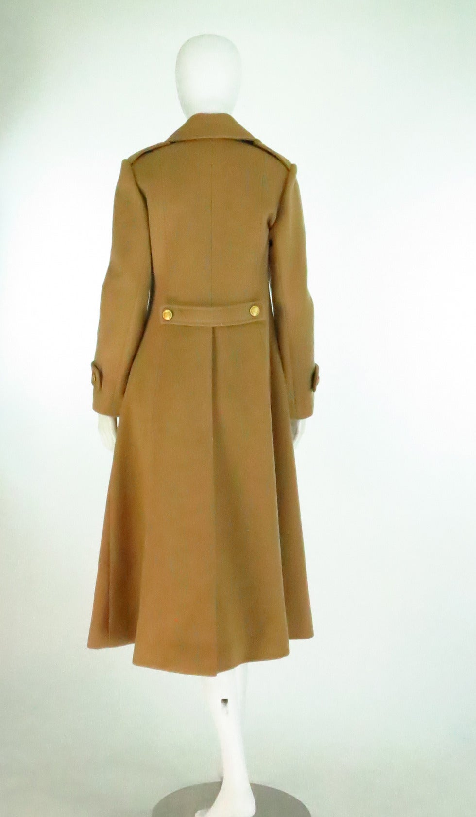 1960s Adolfo camel tan double face wool military style coat 6