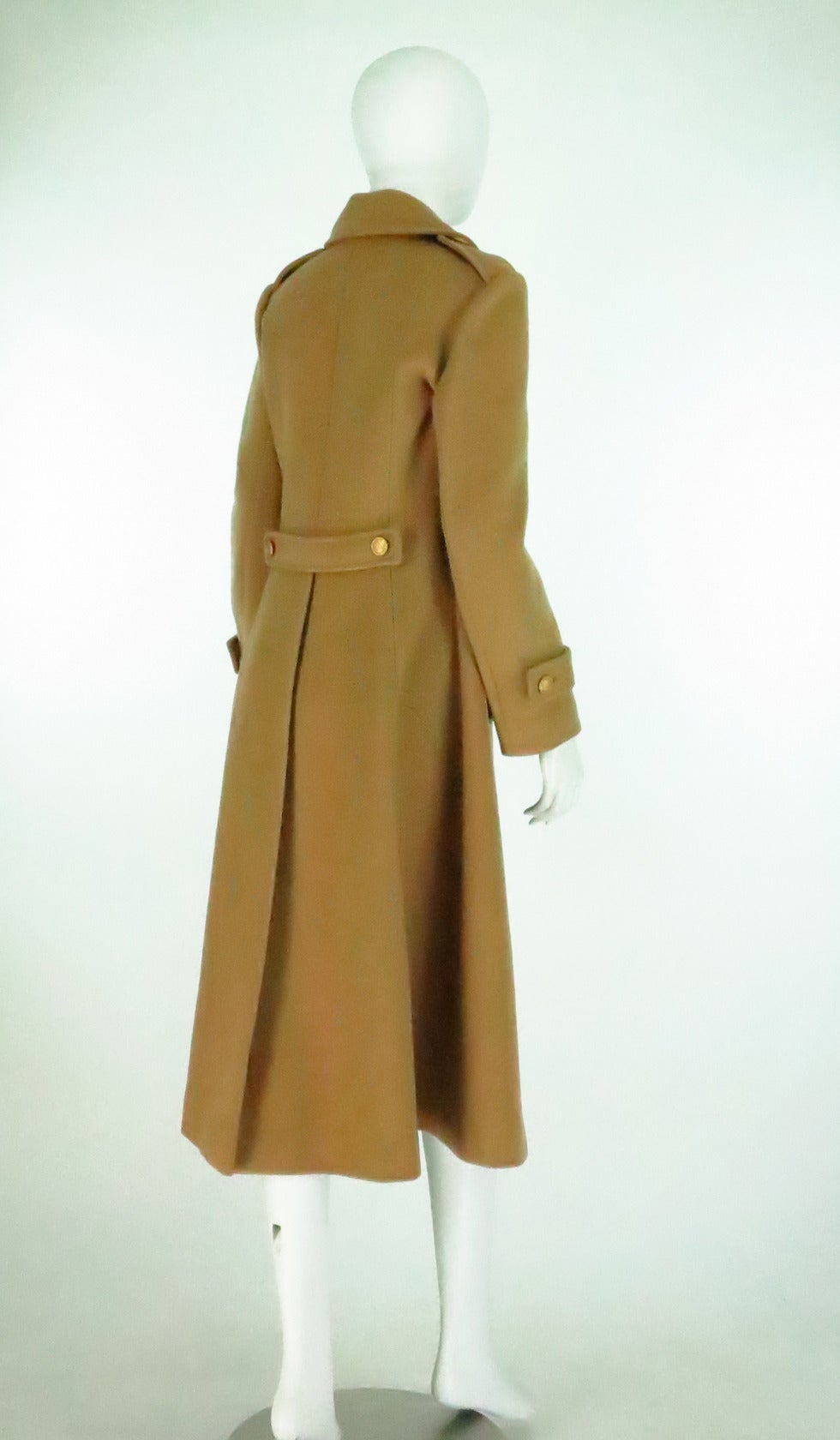 1960s Adolfo camel tan double face wool military style coat 7