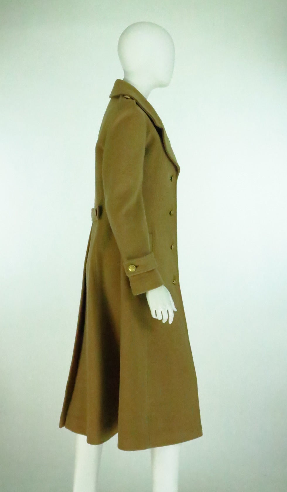 1960s Adolfo camel tan double face wool military style coat 8